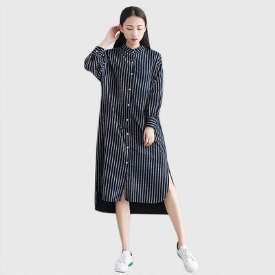 Cuff Sleeve Button Flattering Striped Dress
