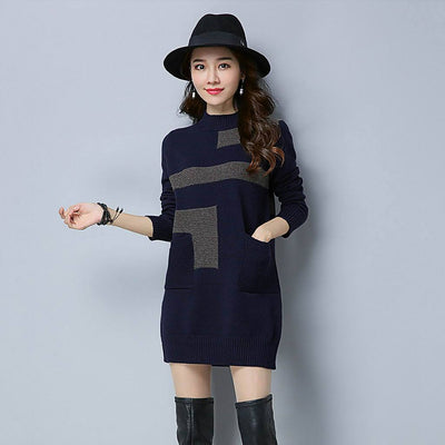 Long Sleeve Pockets Cool Geometric Print Dress