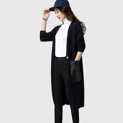 Long Sleeve Pockets Chic Plain Cardigan