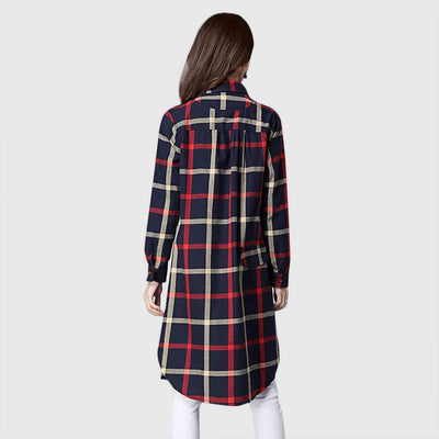 Cuff Sleeve Shirt Collar Grungey Plaid Dress