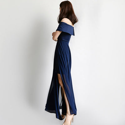 Cap Sleeve Slit Party Plain Dress