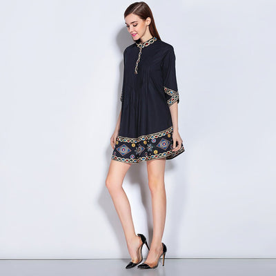 Half Sleeve Round Collar Boho Floral Embroidery Dress