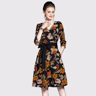 3/4 Length Sleeve Bow Retro Floral Print Dress
