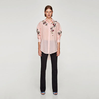 Cuff Sleeve Shirt Collar Feminine Floral Embroidery Blouse
