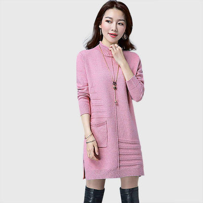 Long Sleeve Pocket Sweet Plain Dress