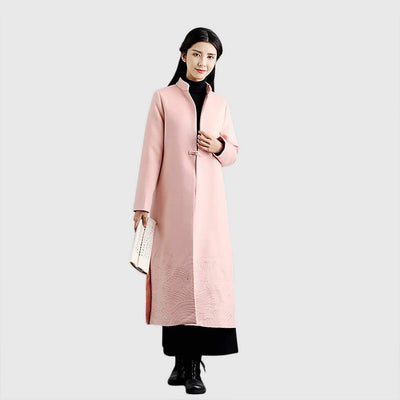 Long Sleeve Tasseled Oriental Plain Coat