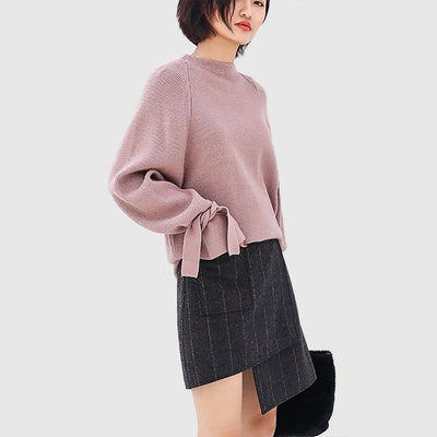 Flounce Sleeve Turtle Neck Feminine Plain Sweater