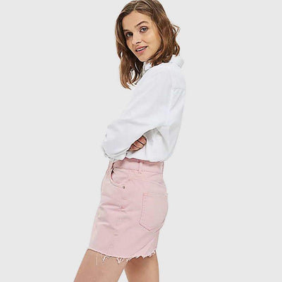 Regular Waist Pockets Laid Back Plain Skirt