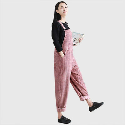 Sleeveless Suspenders Urban Plain Jumpsuit