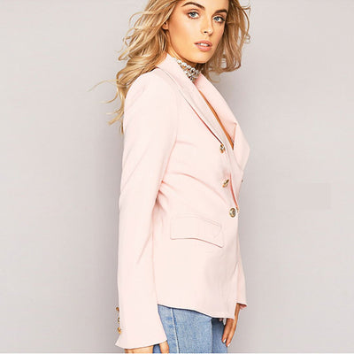 Long Sleeve Lapels Elegant Plain Blazer