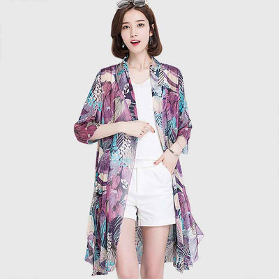 3/4 Length Sleeve Collarless Pretty Natural Print Jacket