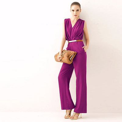 Sleeveless V Neck Bright Plain Jumpsuit