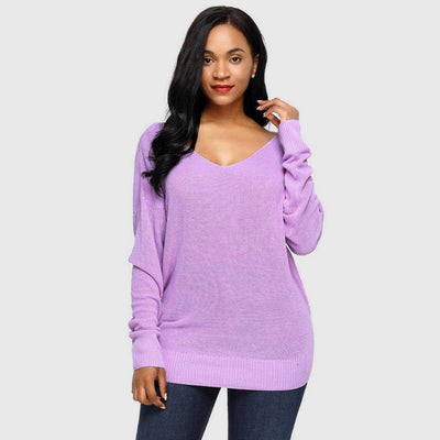 Long Sleeve Knotted Sexy Plain Sweater