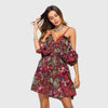 Ruffle Sleeve Off Shoulder Ruffle Floral Beach Short Dress