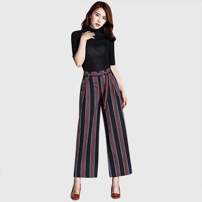 High Waist Belted Nautical Striped Pants