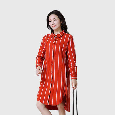 Cuff Sleeve Shirt Collar Boyish Striped Dress