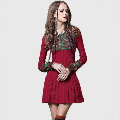 Cuff Sleeve Panelled Hippy Tribal Embroidery Dress
