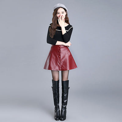 Regular Waist Button Retro PU Leather Plain Skirt
