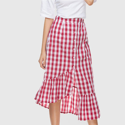 Calf Length Modern Asymmetric Houndstooth Skirt