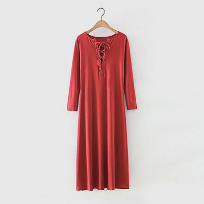 Long Sleeve Lace-Up Relaxed Plain Dress