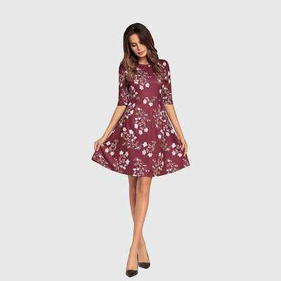 Half Sleeve Round Neck Girly Floral Print Dress