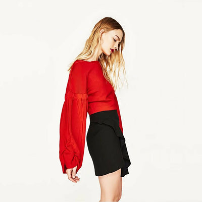 Bell Sleeve Trimmed Basic Plain Sweatshirt