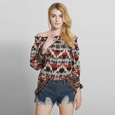 Flounce Sleeve Off Shoulder Beachy Tribal Print Blouse