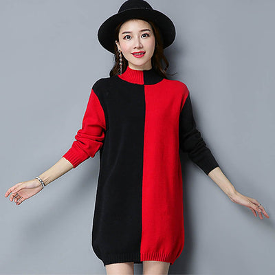 Long Sleeve High Neck Striking Color Block Dress