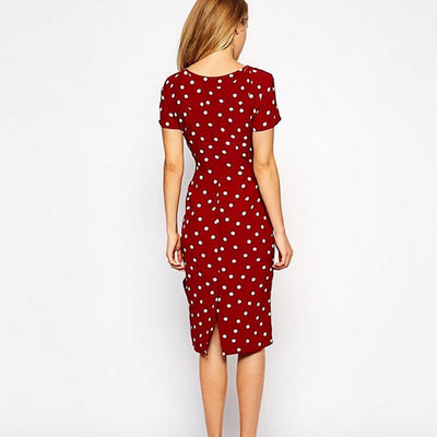 Short Sleeve Ruffle Retro Polka Dot Dress