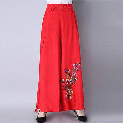 Medium Rise Wide Leg Flattering Floral Embroidery Pants