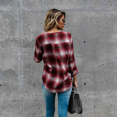 Long Sleeve Deep V Neck Grungey Plaid Shirt