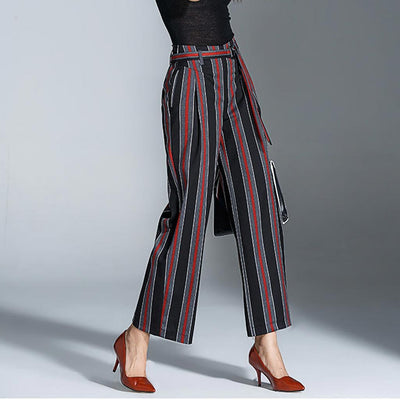 Medium Rise Wide Leg Boyish Striped Pants