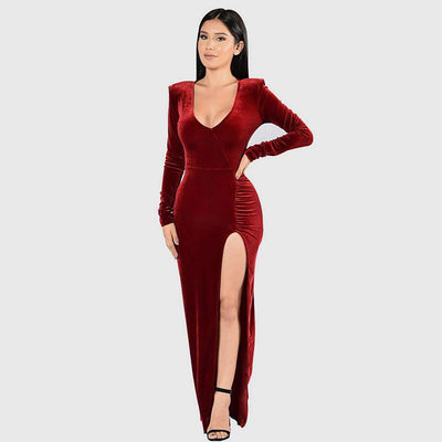 Long Sleeve Slit Luxe Plain Dress