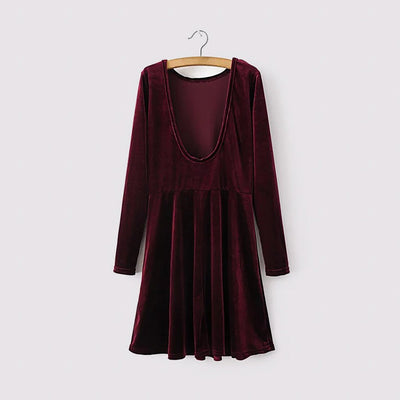 Long Sleeve Round Neck Glamorous Plain Dress