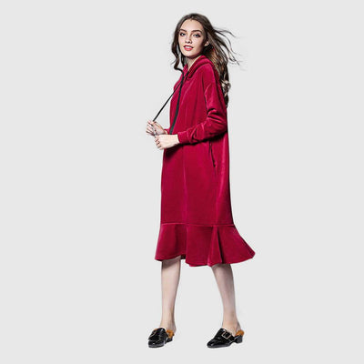 Long Sleeve Ruffle On-Trend Plain Dress
