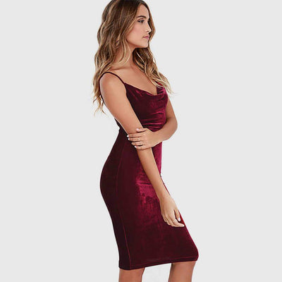 Sleeveless Scoop Neck Sexy Plain Dress
