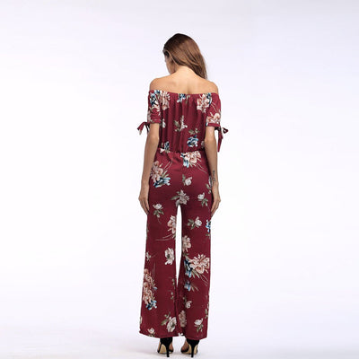 Short Sleeve Off Shoulder Sweet Floral Print Jumpsuit
