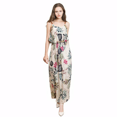 Sleeveless Spaghetti Strap Whimsical Floral Print Dress