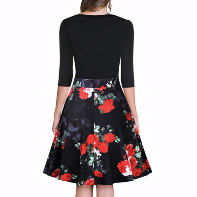 Half Sleeve V Neck Funky Floral Print Dress