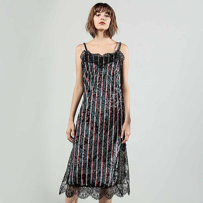 Sleeveless Lace Edgy Striped Dress