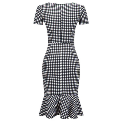 Short Sleeve Sweetheart Neck Classic Houndstooth Dress