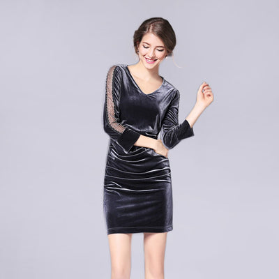 Long Sleeve Ruched Glamorous Plain Dress