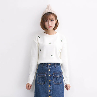 Long Sleeve Round Neck Pretty Floral Embroidery Sweater