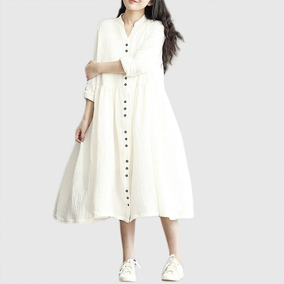 Long Sleeve Button Feminine Plain Dress