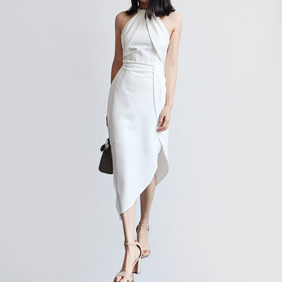 Sleeveless Halter Neck Stylish Plain Dress