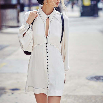 Long Sleeve Shirt Collar Feminine Plain Dress