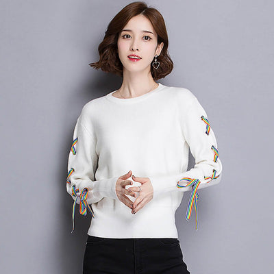 Long Sleeve Lace-Up Cute Plain Sweater Jersey