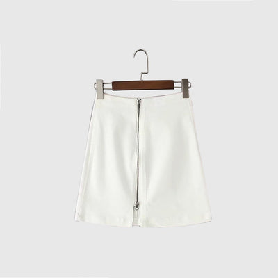 Regular Waist Zipper Retro A-Line Plain Skirt