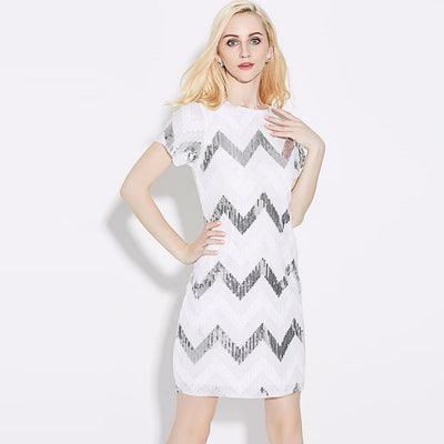 Short Sleeve Boat Neck Sparkly Geometric Print Dress