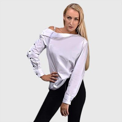 Long Sleeve Popper Edgy Color Block Blouse
